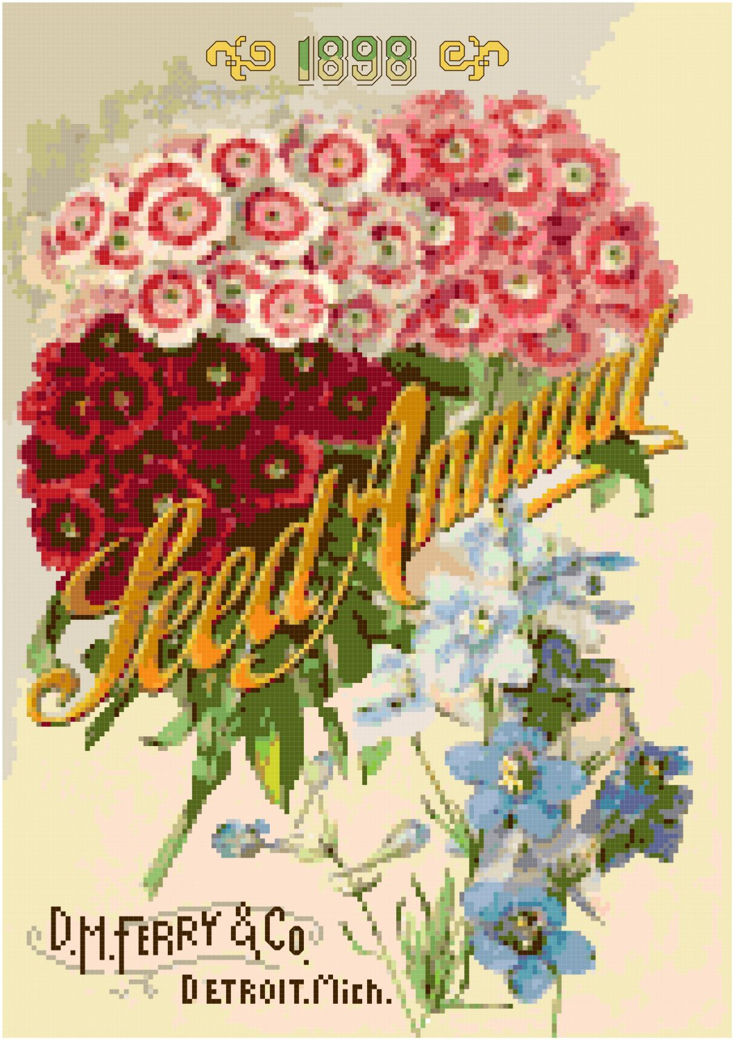 Antique Seed Catalog 1989 Magazine Cover Cross Stitch Pattern Chart Graph