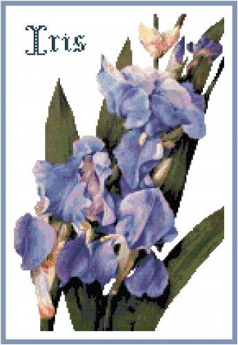 Deep Blue Iris Counted Cross Stitch Pattern Chart Graph
