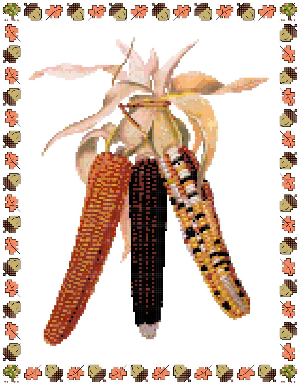 Indian Corn Cross Stitch Pattern Chart Graph