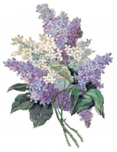 Blue, Purple and White Lilacs Pattern Chart Graph