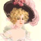 Beautiful Lady in a Flower and Feather Hat Pattern Chart Graph