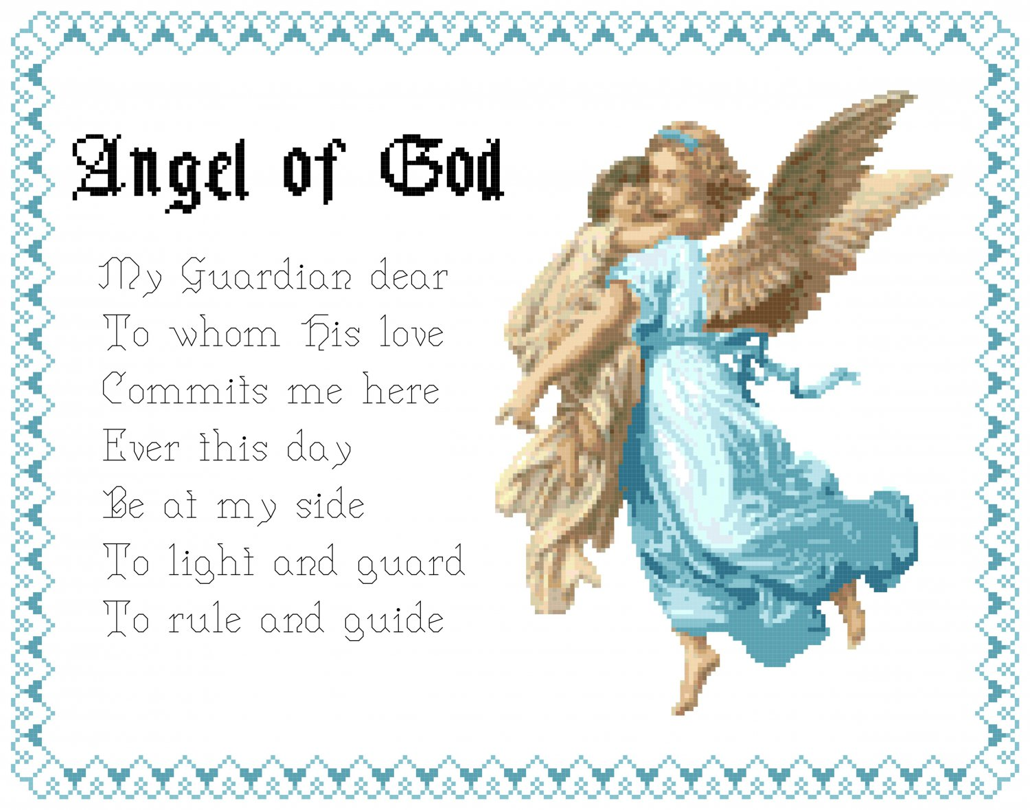Boy Angel God Prayer Pattern Chart Graph