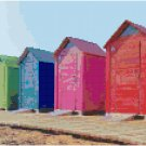 Colorful Beach Huts Pattern Chart Graph