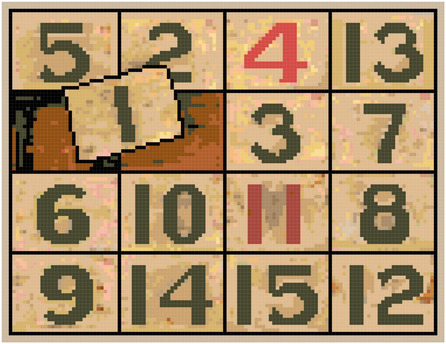 Antique Sliding Numbers Game Pattern Chart Graph