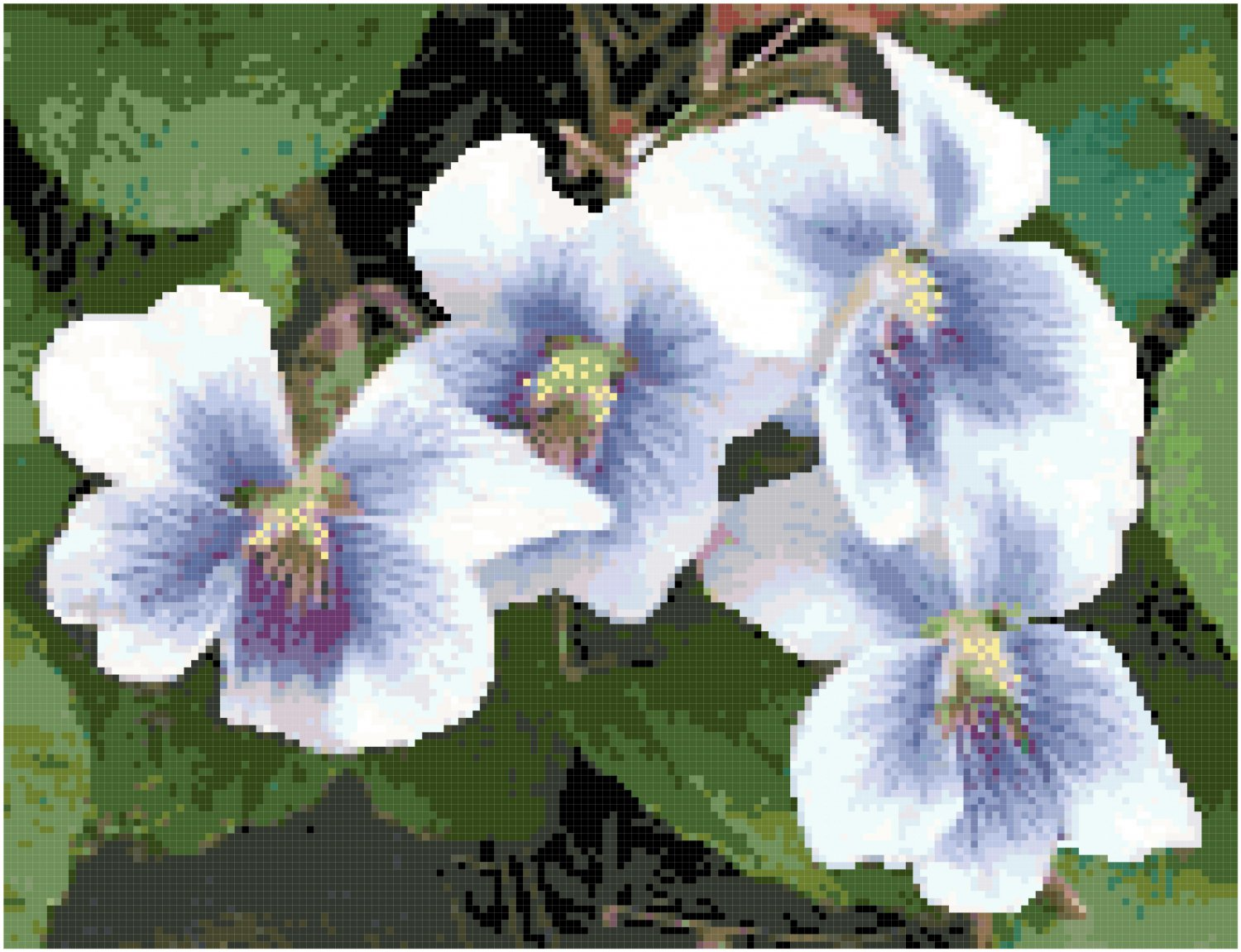Dainty Spring Violets Pattern Chart Graph