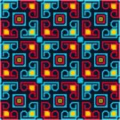 Abstract Blocks #1 Seat or Pillow Top X-Stitch or Needlepoint pattern chart graph
