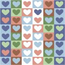 Heart to Heart Seat or Pillow Top X-Stitch or Needlepoint pattern chart graph