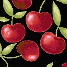 Cherries Seat or Pillow Top X-Stitch or Needlepoint pattern chart graph