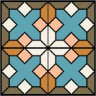 Stained Glass Nature Seat-Pillow Top X-Stitch or Needlepoint pattern chart graph