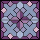 Stained Glass Amethyst Seat-Pillow Top X-Stitch or Needlepoint pattern chart graph