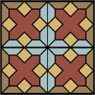 Stained Glass October Seat-Pillow Top X-Stitch or Needlepoint pattern chart graph