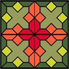 Stained Glass Poppy Seat-Pillow Top X-Stitch or Needlepoint pattern chart graph