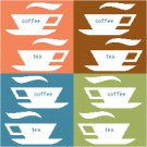 Coffee and Tea Seat or Pillow Top X-Stitch or Needlepoint pattern chart graph