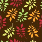 Autumn Sumac Leaves Seat or Pillow Top X-Stitch or Needlepoint pattern chart graph