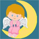 Little Girl Angel - Child's Bed Pillow Top X-Stitch or Needlepoint pattern chart graph