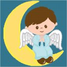 Little Boy Angel - Child's Bed Pillow Top X-Stitch or Needlepoint pattern chart graph