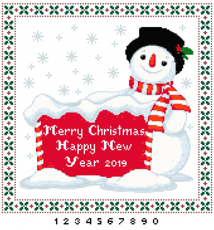 Merry Christmas Snowman Pattern Chart Graph
