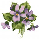 Spring Violets Nosegay Cross Stitch Pattern Chart Graph