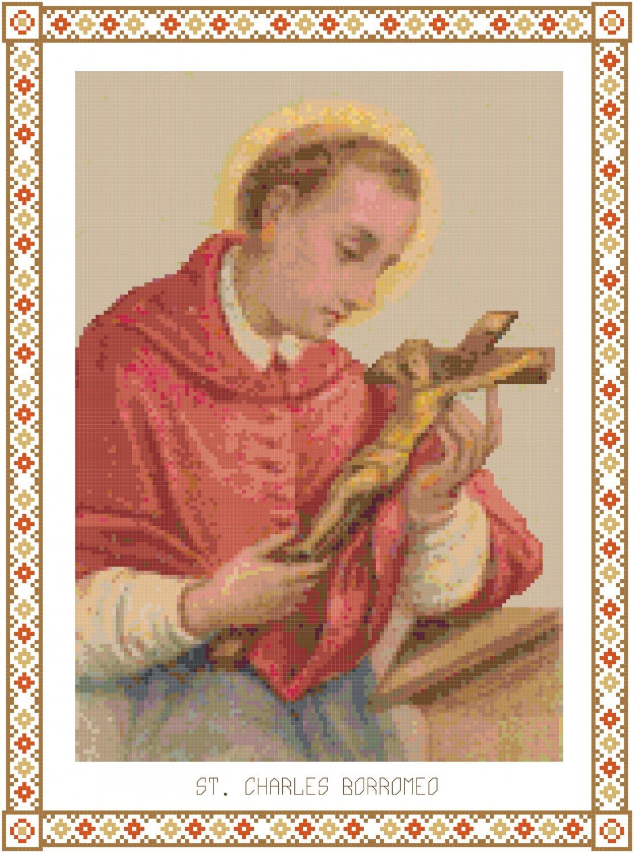 St. Charles Borromeo Cross Stitch Pattern Chart Graph