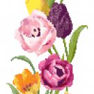 Spring Tulips Banner Cross Stitch Pattern Chart Graph