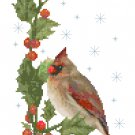 Winter Cardinals Banner Cross Stitch Pattern Chart Graph