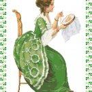 Irish Lass Embroidering Pattern Chart Graph