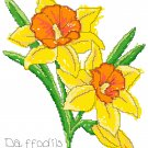 Daffodils Pencil and Watercolor Floral Pattern Chart Graph