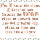 Encouragement - For I Know The Plans Pattern Chart Graph