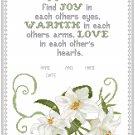 White Lilies Wedding Sampler Pattern Chart Graph