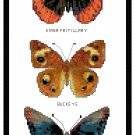 Diana, Buckeye and Red Spotted Purple Butterflies Pattern Chart Graph