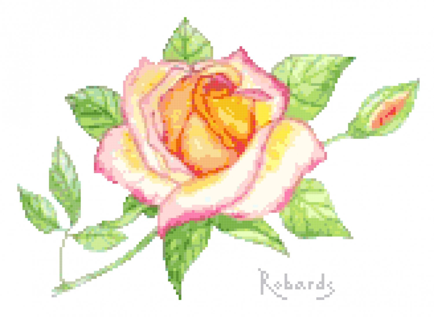 Peace Rose Cross Stitch Pattern Chart Graph
