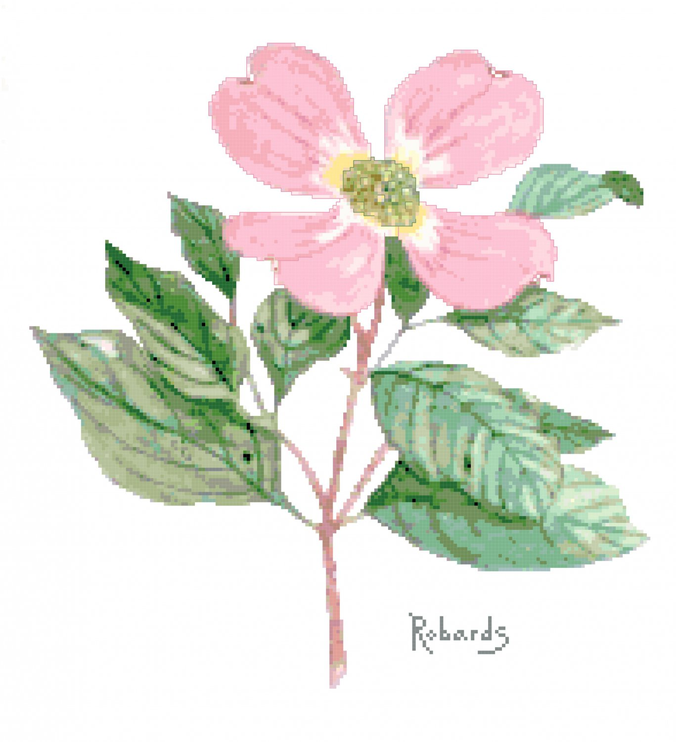 Pink Dogwood Flower Cross Stitch Chart Pattern Graph