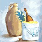 Still Life with Cider Jug and Butter Crock Cross Stitch Pattern Chart Graph