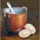 Copper Pot with Eggs Cross Stitch Pattern Chart Graph