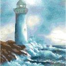Crashing Ocean Waves on Lighthouse Cross Stitch Pattern Chart Graph