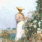 Lady in a Flower Garden by Frederick Childe Hassam Pattern Chart Graph