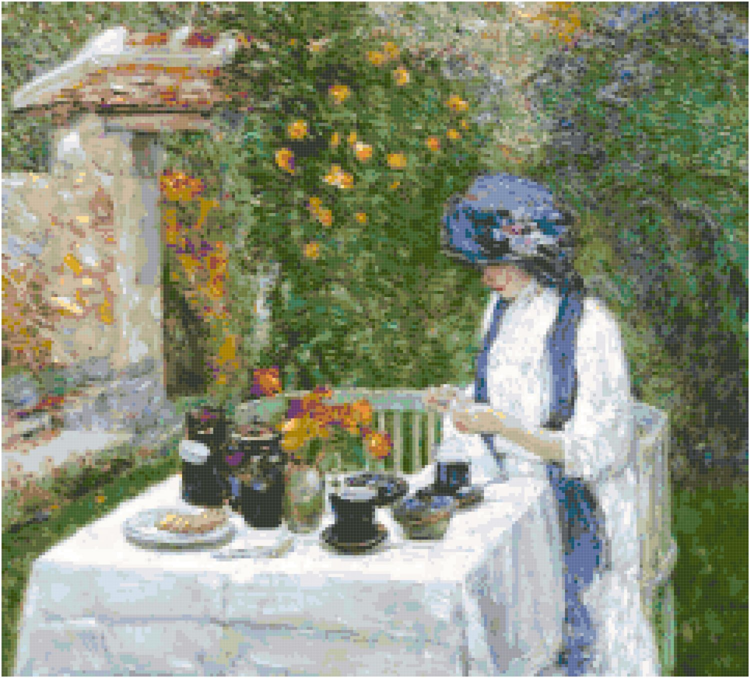 The French Tea Garden by Frederick Childe Hassam Pattern Chart Graph