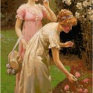 Two Ladies Picking Flowers by Charles Haigh-Wood Pattern Chart Graphs