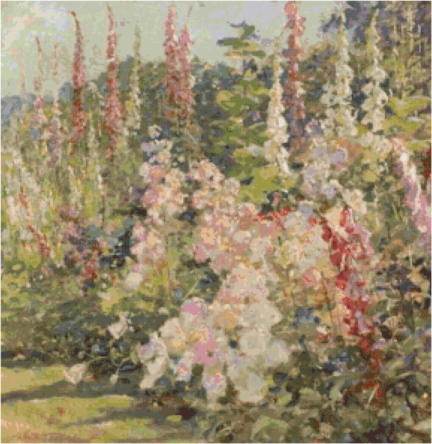Hollyhocks by Abbott Fuller Graves Pattern Chart Graph
