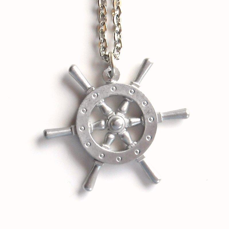 Vintage Danish Jorgen Jensen Pewter Ship Wheel Design Necklace