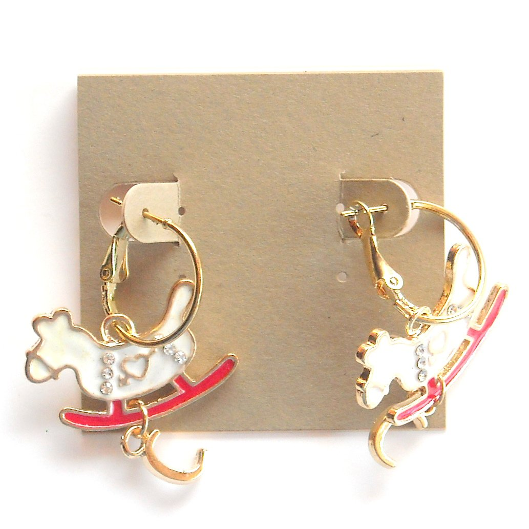 Rocking Horse with letter C Gold color Metal Dangle French Lock Fashion Earrings