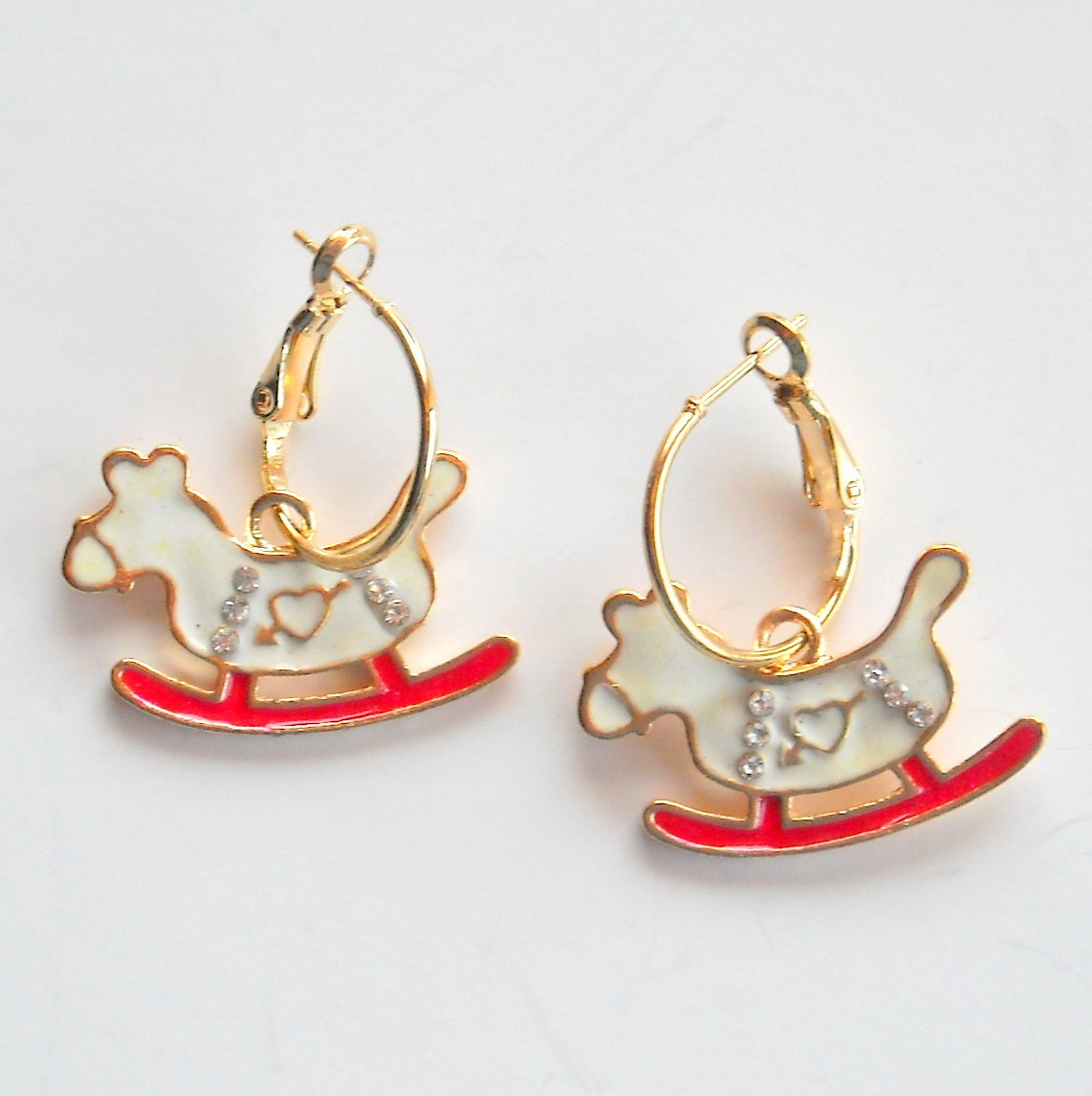 Rocking Horse Gold color Metal Dangle French Lock Fashion Earrings