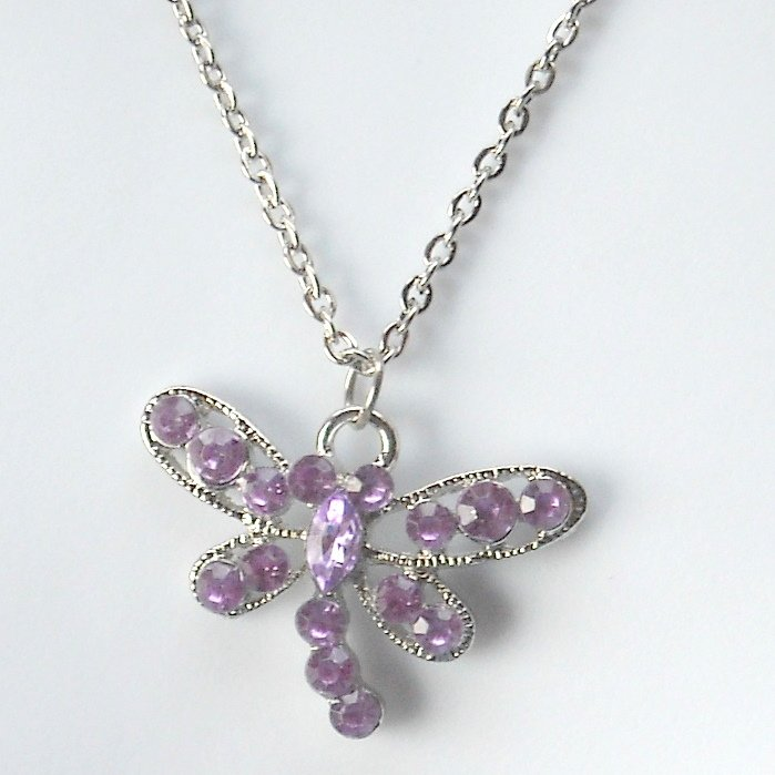 Butterfly Rhinestone Purple Multi Stone Faceted Fashion Necklace