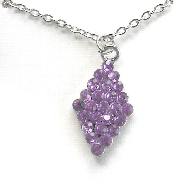 Rhinestone Purple Multi Stone Faceted Trapezoid Shape Fashion Necklace