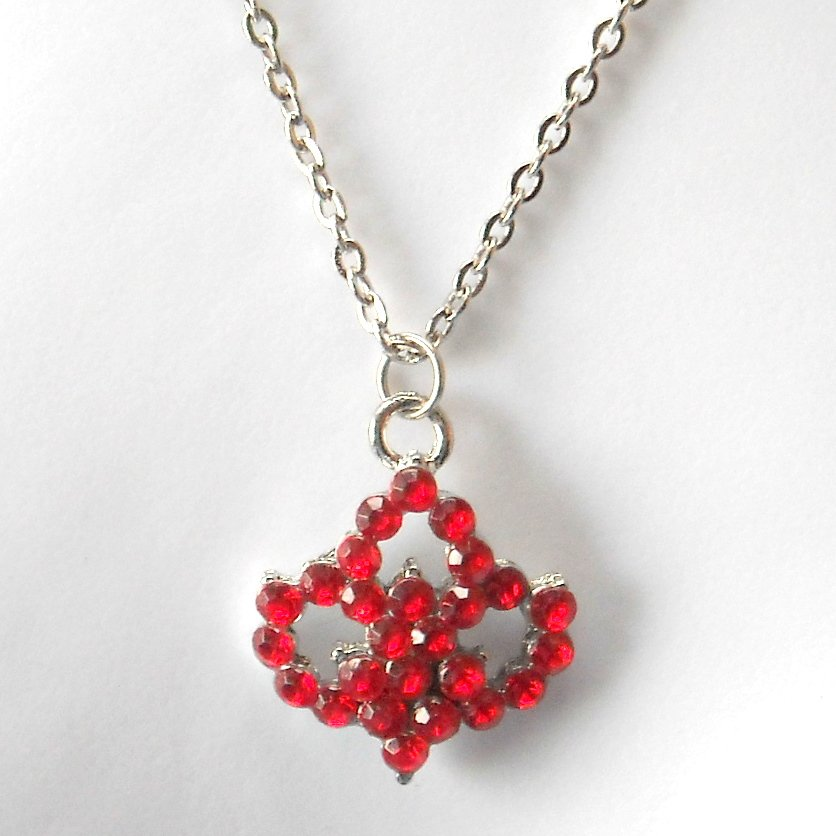 Rhinestone Ruby Red Multi Stone Faceted Flower Fashion Necklace