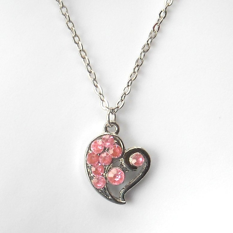 Rhinestone Pink Multi Stone Faceted Heart Fashion Necklace