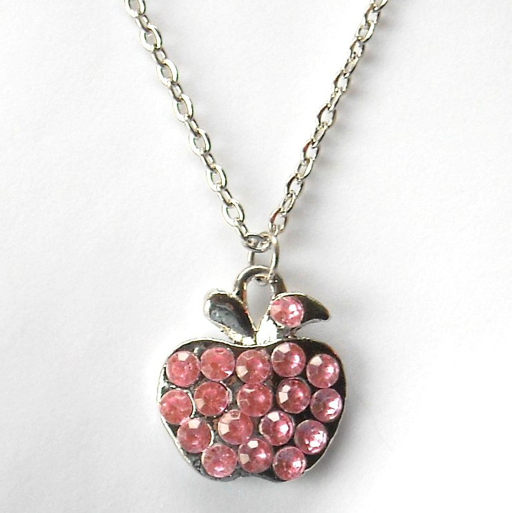 Rhinestone Pink Multi Stone Faceted Apple Fashion Necklace