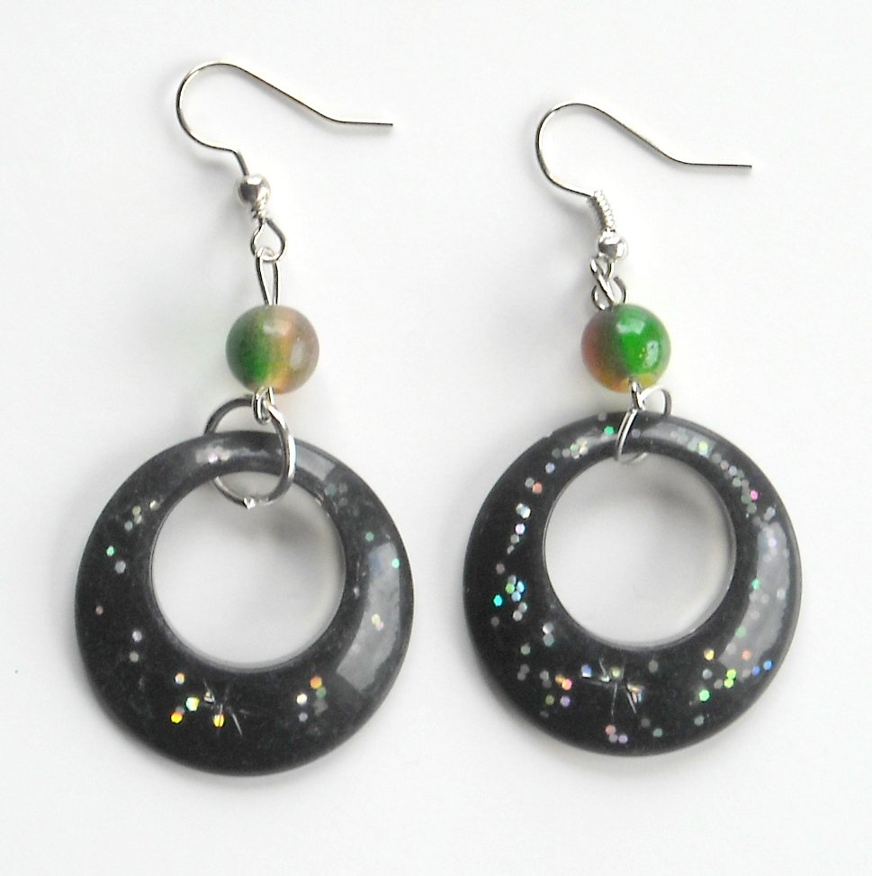 Large Round Black Acrylic Dangle Fashion Earrings