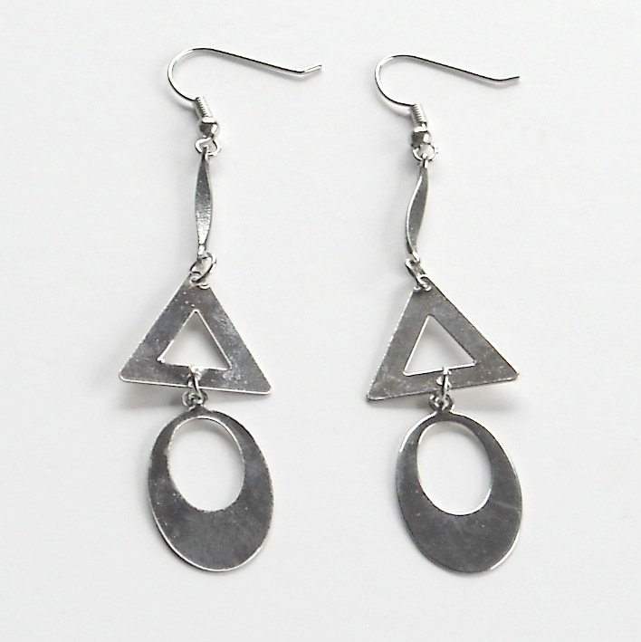Triangle Oval Silver color Metal Dangle Fashion Earrings