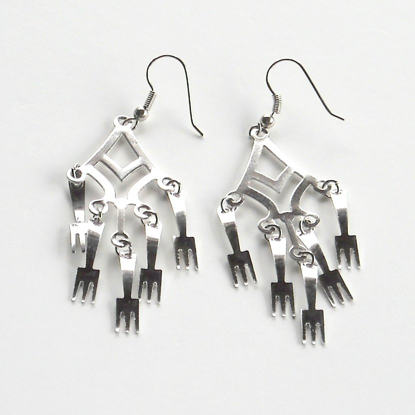 10 Forks Silver color Metal Dangle Fashion Earrings